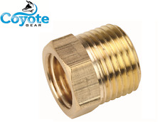 "1/2"" Male x Female 3/8"" NPT Pipe Thread Hex Reducer Bushing Brass Coyote Gear"