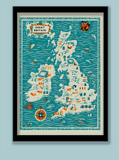 Mediados de siglo Cartel. Ilustrado Mapa de Gran Bretaña e Irlanda. A2 (60x40cm)