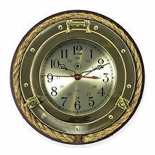 CLOCKS - BRASS PORTHOLE WALL CLOCK WITH FISHERMANS ROPE TRIM - NAUTICAL DECOR