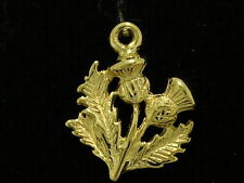 C164 Genuine 9K Solid Yellow Gold Detailed Scottish Thistle Charm + jumpring