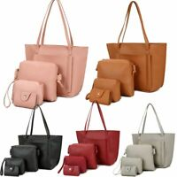 4Pcs/Set Women Leather Handbag Purse Messenger Shoulder Bag Tote Wallet Clutch
