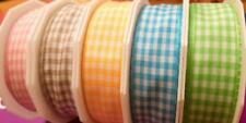 """1"""" WIDE GINGHAM (2m) - LOVELY SPRING COLOURS - WIRE EDGED BY RIBBON QUEEN"""