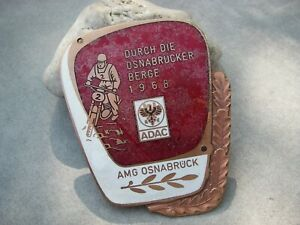 vintage german ADAC OSNABRÜCK MOUNTAINS 1968 MOTO MOTORCYCLE ename Badge