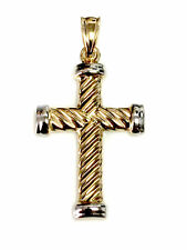 14k Yellow Gold Twisted Cable Cross Mens Pendant, 25 X 15 mm
