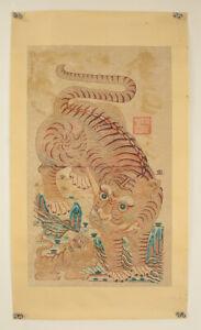 """掛軸1967 KOREAN MAKURI,HONSHI """"PRINTED~Fierce Tiger""""  @m843"""