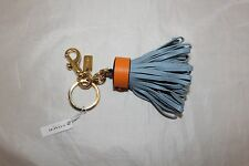 Coach Leather Tassel Bag Charm Key Fob - Cornflower Blue - 58505
