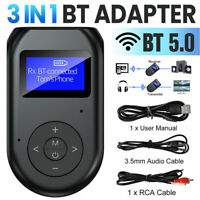 Bluetooth 5.0 Transmitter & Receiver Wireless Adapter Audio 3.5mm TV Stereo