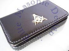 New3D Skull Masonic Master Mason Business Card or Dues Card Holder. Gold..