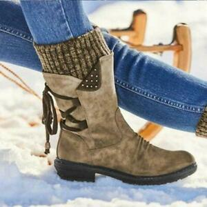 Winter Women's Lace-Up Boots, Flat-Bottomed Breathable Comfortable Elastic Shoes