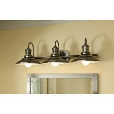 Allen Roth Hainsbrook 3 Light Antique Pewter Cone Bathroom Vanity Fixture