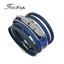 Wrap  Multi Layered Leather Feather Bangle Bracelet Jewellery Blue Navy