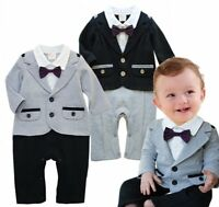 Baby Boy Wedding Formal Party Tuxedo Jacket Suit Romper Outfit Clothes 6-24M