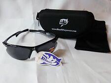 BlueFIN Eyewear Polarized Fisherman Sunglasses ProDestroyer Smoke Lens/Blk Frame