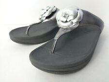 FITFLOP FLORENT 273-054 Womens US 9M PEWTER Silver T-Strap Thong Sandals Shoes