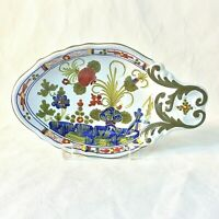 FAENZA SIGMA BLUE CARNATION ITALY CERAMIC POTTERY OVAL RELISH BONBON DISH HANDLE