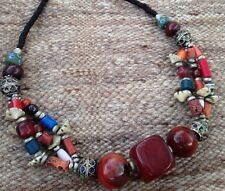 Moroccan Berber Necklace Amber Coral Bone Glass African Trade Beads