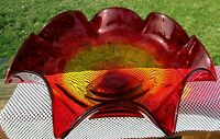 "Blenko 1970's Glass Large Ruffled Footed Compote Bowl 16""W x 6""H *RARE*"