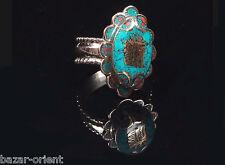 Traditioneller Tibetischer Türkis Ring tibetan turquoise ring neusilber  Nr.17