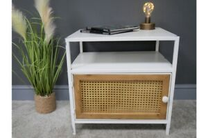 Bedside Cabinet - Lamp Table in Metal and Rattan Design - Industrial / Retro