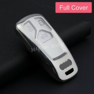 For Audi A4/A5/Q5/Q7/S4/S5/SQ5/B9/TT Silver Car Smart Key Case Full Cover Holder