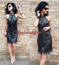 ZARA CHARCOAL GREY SHIMMER SHORT  DRESS SIZE L UK 12