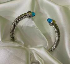 David Yurman Blue Cut Zircon 14K Gold Sterling Silver Cuff Bracelet