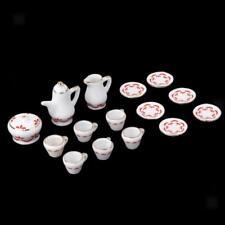 15 Doll House Miniature Ceramic Coffee Service Tea Set Red Floral 1/12 Scale