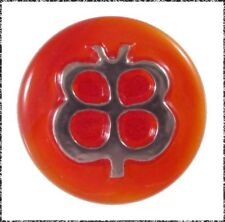 Vintage Red Moonglow Glass Button w/ a Stylized Silver Luster Butterfly, Small