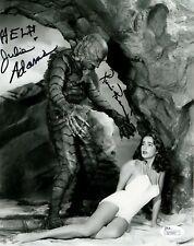 Julie Adams+Ricou Browning Hand Signed 8x10 Photo Creature Black Lagoon Jsa