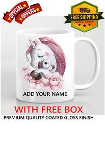 Personalised Name Cute Unicorn Kids Children's Coffee Mug Gift 11oz Ceramic