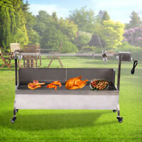 Large Stainless Steel Roaster Rotisserie BBQ Cooking Pig Lamb Goat Chicken Spit