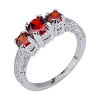 Vintage Style New Rings Red Garnet CZ Lady's 14kt White Gold Filled Size J1/2-Y