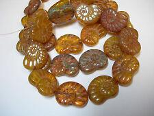 10 - 17mm Amber Opal Mix Picasso Snail Shell Swirl Spiral Czech Glass Beads
