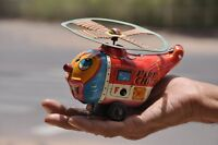 Vintage Wind Up F.D Fire Chief Litho Helicopter Tin Toy , Collectible