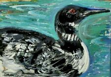 ORIGINAL ACEO PAINTING a LOON Swimming Lake Fall Winter Black White BIRD ATC ART