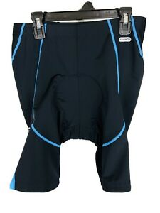 Santic Size Large Mens Power-Dry Padded Cycling Shorts Black Blue
