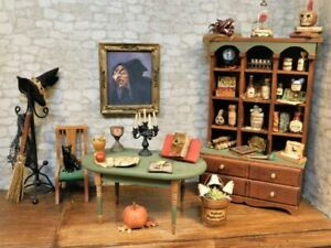 Dollhouse Miniature Haunted Witch Spell Casting Room Lot Halloween 1:12