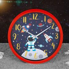 Space Explorer Astronaut Rocket Bedroom Kids Clock Girls Boys Planet Clock Blue