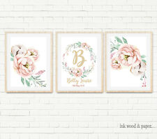 BABY Nursery Floral Wall ART PRINT Wreath Personalised Birth Details Decor