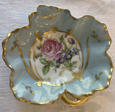 Vintage Limoges France Rose Flower Trinket Candy Dish Light Blue with Gold Trim