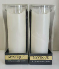 Boston Warehouse Mystique Flameless Candle 9-Inch Ivory NEW SET OF 2