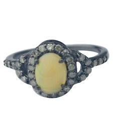 0.4 cts Diamond Ring 925 Sterling Silver Opal oxidized Ring Size 7.5 gift