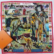 Vtg. HERMES `Les Cheyennes` Scarf Kermit Oliver Original 1993 100% Authentic