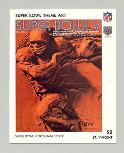 St Vincent #1429 Super Bowl V Program Cover Art 1v S/S Imperf Chromalin Proof