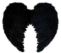BLACK FEATHER ANGEL WINGS FAIRY FANCY DRESS COSTUME ACCESSORY LARGE 55CM X 50CM