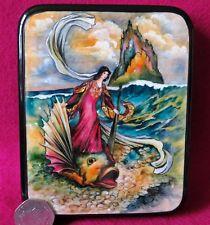Warwick Goble LAQUER Box illustration Rita riding on Dolphin Storie Pentamerone