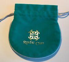 1 - Rustic Cuff Teal Grey inside VELVET BRACELET JEWELRY FABRIC GIFT BAG #22