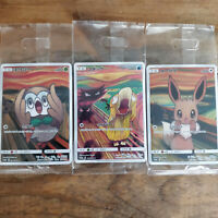 """Pokemon Card Munch """"The Scream"""" Eevee Rowlet Psyduck Set of 3 Limited Unopened"""