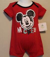 """BOYS 6-9 months red 1-piece outfit """"MICKEY MOUSE"""" Disney romper bodysuit NWT"""