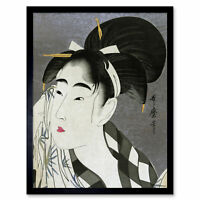 Utamaro Japanese Woman Wiping Sweat Wall Art Print Framed 12x16